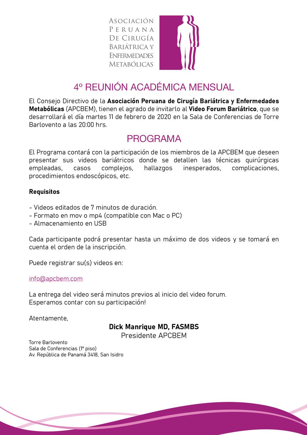 4ta Reunión Académica Mensual
