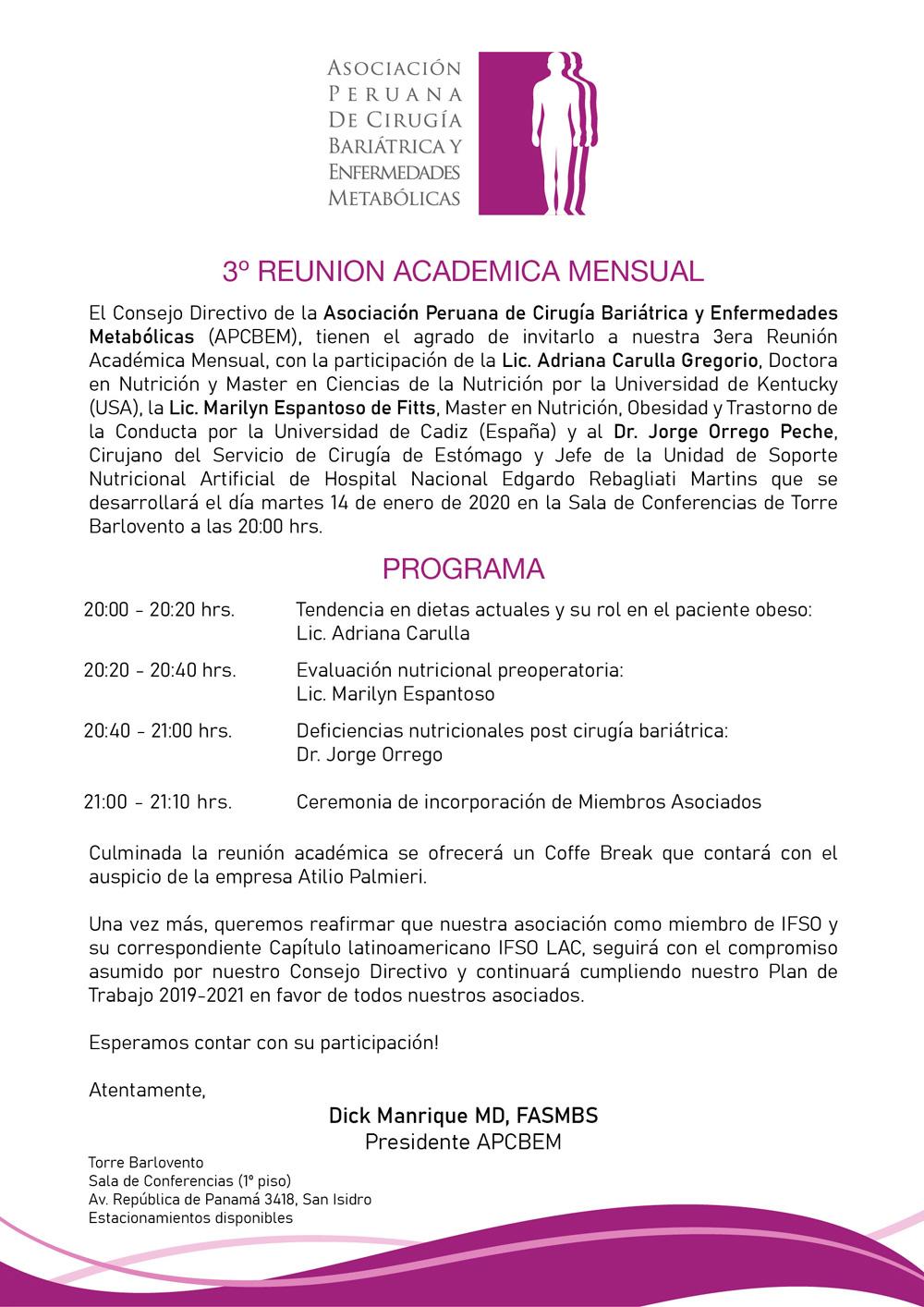 3ra Reunión Académica Mensual
